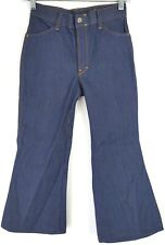 "VTG Mann Youth Iron Pants Dark Wash Denim Bellbottom Flared Jeans Sz 25x21"""