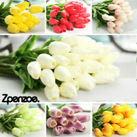 1-50PC Artificial False Tulip Flower White Fake Bouquet Home Wedding Party Decor