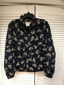 EP Pro Women's Medium Golf Jacket, Lightweight Zip, Navy w/Pineapple Print, EUC!