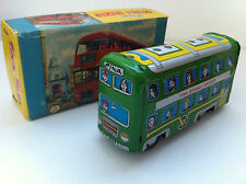 Tina Toys (Inde) - Bus Double decker à friction tôle lithographiée 16 cm Vintage