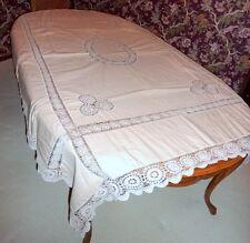 "Vintage 1950's Mocha / Ecru Linen Tablecloth Hand Crocheted Inserts 84"" X 62"""