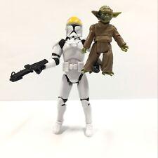 2x Star Wars Master Yoda & Clone Trooper Jedi Knight Figure Model Garage Toys