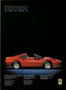 1985 Ferrari 308 GTSi Red Targa Silhouette Auto Car Photo Color Vintage Print Ad