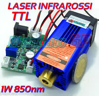 MODULO LASER 850nm 1W INFRAROSSI 12V DC diodo infrared laser module focusable