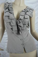 SATCH taupe 100% silk sleeveless pleated v-neck blouse top size 10 EUC