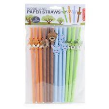 Kikkerland Woodland Animals Design Paper Straws - Set of 12