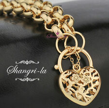 SOLID 18K Yellow GOLD GF Flower PATTERN HEART PADLOCK Womens BRACELET EX728
