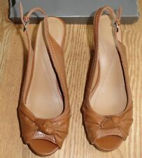 Apt 9 Womens Tan Fx Leather Cork Wedge Platform High Heel Sandal Shoe 9 $55