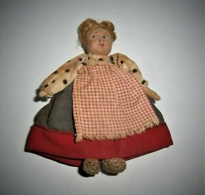 Old DOLL Painted Bisque Head Fabric Dress Apron Farm Girl Vintage Folk Art Toy