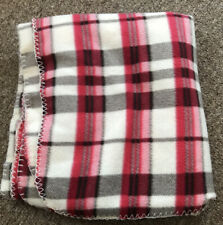 """Red Check Patterned Fleece Blanket Throw. Size Approx 60"""" X 52"""""""