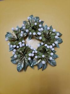 """MISTLETOE Candle Ring White Berries Buds 3.25"""" Opening Crafts Christmas"""