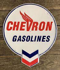 "CHEVRON GASOLINES Vintage 21"" Circular Embossed Tin Metal Sign"