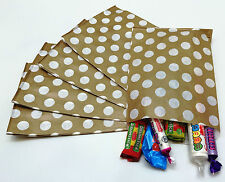 "100 Gold & White Candy Reverse Spot Paper Sweet Bags Wedding 5"" X 7"" Pick 'n'Mix"