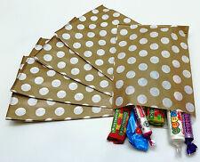"100 Gold & White Candy Reverse Spot Paper Sweet Bags Wedding 5"" X 7"" Pick 'n'Mix"