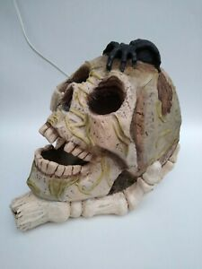 Light up Skull - Decorative Halloween Decor glowing Eyes with spider