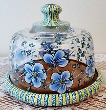Cheese Cookie Cake Wood Plate Glass Dome Blue & Green Flower Hand Painted By Lia