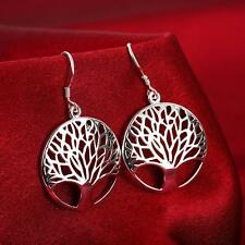 925 Sterling Silver Plated Tree of Life Drop Dangle Earring Jewelry NEUS
