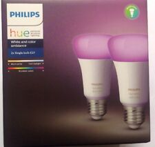 Philips Hue White & Colour Ambience E27 Light Bulb Twin Pack Wireless 9.5W 3rd G