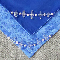 Altar Cloth, 25 Inch, Blue Sparkle Cotton & Blue Cotton w/ Clear Quartz Beads