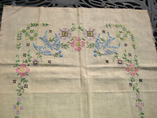 vintage LINEN PILLOW TOP EMBROIDERED w/ BLUE BIRDS & FLOWERS