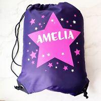 Personalised Pink Stars Drawstring Purple PE Bag Kids Swimming Gym Kit School