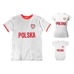 Adult or Kids POLAND Country Badge Football TShirt 2021 Polish Euro Shipping