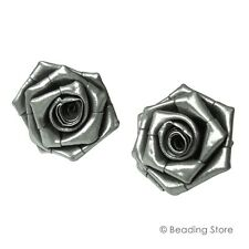 97-99% Fine Silver Hill Tribe LARGE Rose Flower Hand Crafted Earrings Ear Studs
