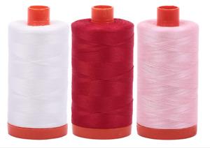 Aurifil Cotton Mako 50wt 1300m 2-Pack: Natural White Red Pink (2021+2250+2423)