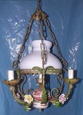 Antico elegante lampadario bronzo opale e rose in ceramica stile Liberty 4 luci