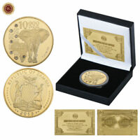 WR 2015 Zambia African Wildlife Elephant SILVER GOLD Coin Collection /w Gift Box