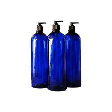 32oz Blue Pet Tall Plastic Bottle Black Hand Lotion Pump Kraft Label 3/pk New
