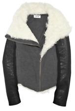 HELMUT LANG White Shearling Trim Gray Jersey Zipper Leather Sleeve Jacket