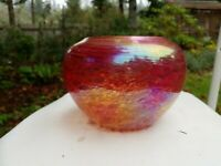 1995 James Alloway art glass vase with oil lamp inside - irridescent red swirl