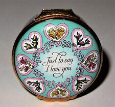 Halcyon Days English Enamel Box - Valentine'S Day 1992 - Hearts & Flowers -Roses