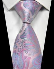 fe38d3e6514c Classic Paisley Pink Baby Blue 100% Silk Men's Tie Fashion Necktie 3.15''(