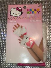 Child Hello Kitty Fingerless Gloves -White Faux Fur NEW IN PACKAGE!!