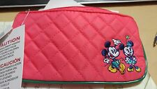 Disney Park Mickey & Minnie Mouse Pencil Case/Makeup Pouch Quilt New with Tags