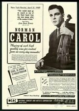 1950 Norman Carol photo violin recital tour booking trade print ad