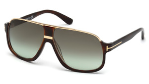 Tom Ford Elliot TF 0335 56K Havana & Gold Sunglasses Green Gradient Lens Size 60