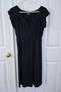 Motherhood Maternity Black Ruffled Tie Short Sleeve Dress size Medium M