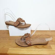 NINE WEST Genuine Leather Tan Brown Thong Flat Sandals Size UK 4.5 US 6 Slides