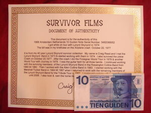 LUCKY 10 GULDEN AMSTERDAM NOTE WAS IN ONE OF MY CASES ON THE SKYNYRD PLANE CRASH