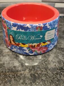 NEW The Pioneer Woman Small Melamine Pet Bowl 14 Oz. Red Blue Floral
