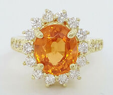 4.70 ct 18k Yellow Gold Oval Mandarin Garnet & Diamond Halo Engagement Ring GIA