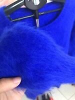 Long Angora Blended Jumper Fluffy Fuzzy Super Soft Pullover Sweater Blue