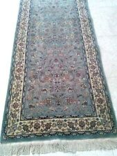 Beautiful Steel Blue Hand Knotted Runner wool pile Area Rug 2'-7x12'-5""
