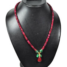 Natural Emerald Ruby Designer Beaded Necklace ~20 Inches ~Gold Over Silver Clasp