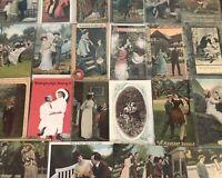 Lot of 25 Early /Vintage ~Couples & Romance~ Romantic~Men & Women~Postcards-b486