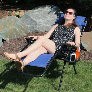 Sunnydaze Zero Gravity Lounge Chair with Pillow and Cup Holder - Navy Blue