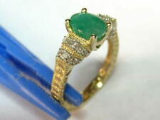 14k Yellow Gold 1.26 cts. Emerald & w/.34 cts. Diamond - Size 7 - weighs 5.22 gm